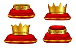 Samling för vektor för konung- eller drottningheadwear realistisk royaltyfri illustrationer