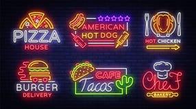 Samling för vektor för matneontecken Ställ in neonlogoer, emblem, symboler, pizzahuset, den amerikanska varmkorven, varm höna, ha vektor illustrationer
