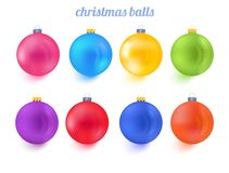 Samling för vektor för nytt år för julbollar färgrik royaltyfri illustrationer