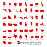 Samling för vektor för 50 USA-stater Denspecificerade röda konturn kartlägger allra 50 tillstånd USA-stater med fulla namn royaltyfria foton