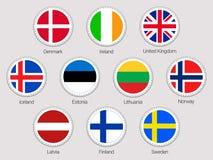 Samling för vektorklistermärkeflaggor Uppsättning för flaggor för europeiska länder Runda beståndsdelar Traditionella färger Nord Royaltyfri Illustrationer