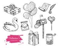 Samling för vektorvalentindag tecknade handillustrationer Royaltyfri Foto