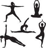 Samling för Yogakvinnasilhouette. Royaltyfria Bilder