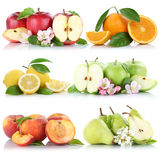 Samling för frukt för apelsiner för äpplen för persika för citron för fruktäpple orange Arkivbilder