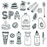 Samling för Spa handgryning gör den kosmetiska symbolen för skönhethuvuddelomsorg manicuren att spika upp set hud för polermedel  Royaltyfri Foto