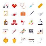 Samling för symboler för vektor för läkarundersökning- och hälsovårdlägenhetdesign Arkivbild