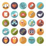Samling för symboler för vektor för läkarundersökning- och hälsovårdlägenhetdesign Arkivfoto