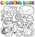 Samling för tema för katt för färgläggningbok Royaltyfri Foto
