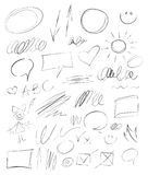 Samling hand-drog blyertspennabeståndsdelar Royaltyfria Foton