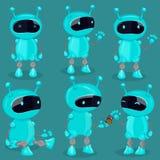 Samling isolerad robot i tecknad filmstil Blåa gulliga vektorrobotar royaltyfri illustrationer