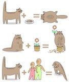 Samling Katten g?r att spela med barnen Därefter blir djuret ledset Husdjuret som sitter i en blomkruka som äter mat, är han royaltyfri illustrationer