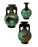 Samling keramisk vas Hand-målade Grekland Royaltyfri Bild
