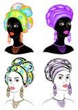 Samling Kontur av ett huvud av en s?t dam En ljus sjal, en turban binds p? huvudet av en afrikansk amerikanflicka _ vektor illustrationer