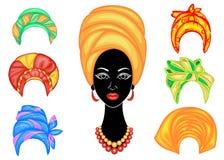 Samling Kontur av ett huvud av en s?t dam En ljus sjal, en turban binds p? huvudet av en afrikansk amerikanflicka _ royaltyfri illustrationer