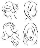 Samling Kontur av huvudet av en gullig dam Flickan visar hennes frisyr p? l?ngt och medelh?r Passande f?r logo, royaltyfri illustrationer