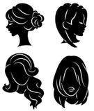 Samling Kontur av huvudet av en gullig dam Flickan visar hennes frisyr p? l?ngt och medelh?r Passande f?r logo, vektor illustrationer