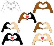 Samling M?nskliga h?nder viks i formen av en hj?rta och en r?d hj?rta Folk av olika nationaliteter Dag f?r valentin s stock illustrationer