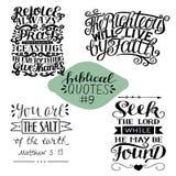 Samling 4 med bibelverssökande Herren Jubla alltid, be, ge tack Rättfärdigt ska bo vid tro salt royaltyfri illustrationer