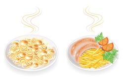 Samling På en platta av varma stekte korvar och champinjoner Garneringpotatisar, tomat och grön persilja och dill SMAKLIGT OCH royaltyfri illustrationer