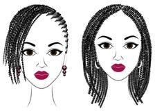 Samling Profil av ett huvud av s?ta damer Afrikansk amerikanflickor visar frisyrer f?r l?ngt och medelh?r Konturer av royaltyfri illustrationer