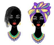 Samling Profilera huvudet av den s?ta damen Afrikansk amerikanflicka med en h?rlig frisyr Damen b?r en turban, en medborgare stock illustrationer