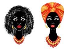 Samling Profilera huvudet av den s?ta damen Afrikansk amerikanflicka med en h?rlig frisyr Damen b?r en turban, en medborgare royaltyfri illustrationer