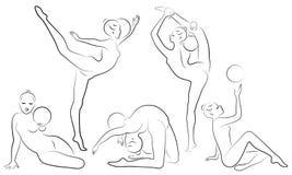 Samling rytmisk gymnastik Kontur av en flicka med ett beslag Den härliga gymnasten kvinnan är slank och barn vektor illustrationer