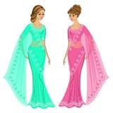 Samling s?t lady Flickan ?r ikl?dd en traditionell sari, nationell indisk kl?der h?rligt kvinnabarn vektor stock illustrationer