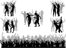 samling som dansar stora silhouettes Royaltyfri Foto