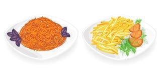 Samling Stekte potatisar med tomater och örter på en platta Koreansk morotsidomaträtt Banta och den vegetariska matr?tten, l?cker vektor illustrationer