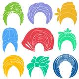 Samling Traditionell nationell huvudbonad, turban stucken scarf Logo symbol, intrig Grafisk bild st?ll in vektorn stock illustrationer