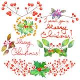 Samling (uppsättning) med blom- julbeståndsdelar för vattenfärg av garnering royaltyfri illustrationer