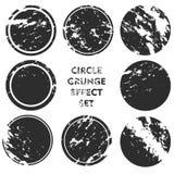 Samlingar för Grungeeffektcirkel Baner, gradbeteckningar, logoer, symboler, etiketter och emblemuppsättning nödlägetexturer mella royaltyfri fotografi