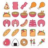 Samlingar för uppsättning för matsymbolsvektor stock illustrationer