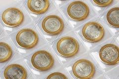 Samlingen av årsdagen myntar rubles i en klyasser på en vit Fotografering för Bildbyråer