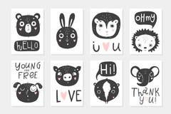 Samlingen av affischer för 8 baby shower, vektor inviterar royaltyfri illustrationer