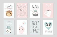 Samlingen av affischer för 8 baby shower, vektor inviterar Royaltyfri Bild