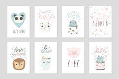 Samlingen av affischer för 8 baby shower, vektor inviterar Royaltyfria Foton