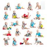 Samlingen av aktiv behandla som ett barn eller lurar pojken Fotografering för Bildbyråer
