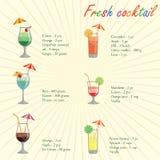 Samlingen av alkoholcoctailar och annan dricker Royaltyfria Foton