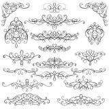 Samlingen av calligraphic krusidullar för tappning, krullar och virvlar runt garnering stock illustrationer