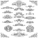 Samlingen av calligraphic krusidullar för tappning, krullar och virvlar runt garnering för hälsningkort, böcker eller avdelare royaltyfri illustrationer