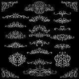 Samlingen av calligraphic krusidullar för tappning, krullar och virvlar runt garnering för hälsningkort, böcker eller avdelare vektor illustrationer