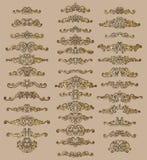 Samlingen av calligraphic krusidullar för tappning, krullar och virvlar runt garnering för hälsningkort, böcker eller avdelare stock illustrationer