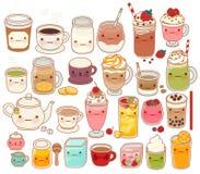 Samlingen av den älskvärda varma och kalla drinksymbolen, gulligt te som är förtjusande mjölkar, sött kaffe, kawaiismoothien, fli royaltyfri illustrationer