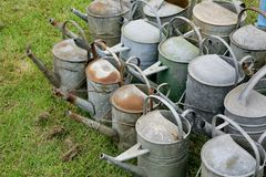 Samlingen av den gamla antikviteten galvaniserade järn som bevattnar cans på gräs arkivbild