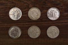 Samlingen av den gamla sovjet myntar rubls Arkivbilder