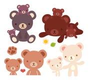 Samlingen av den älskvärda symbolen för björnfamiljklottret, den gulliga farbjörnen, kawaiimammabjörnen som är förtjusande behand Royaltyfri Foto