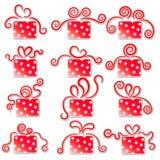 Samlingen av den röda gåvan boxas. Arkivfoton