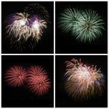 Samlingen av det ljusa färgrika fyrverkerit brast explosioner på svart Royaltyfri Foto